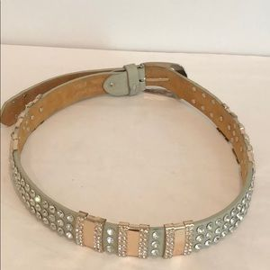 Vera Pelle Jeweled Leather Belt